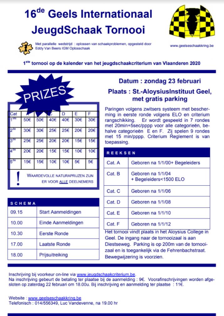 Start 27ste Vlaams Jeugdschaakcriterium 2020 in Geel