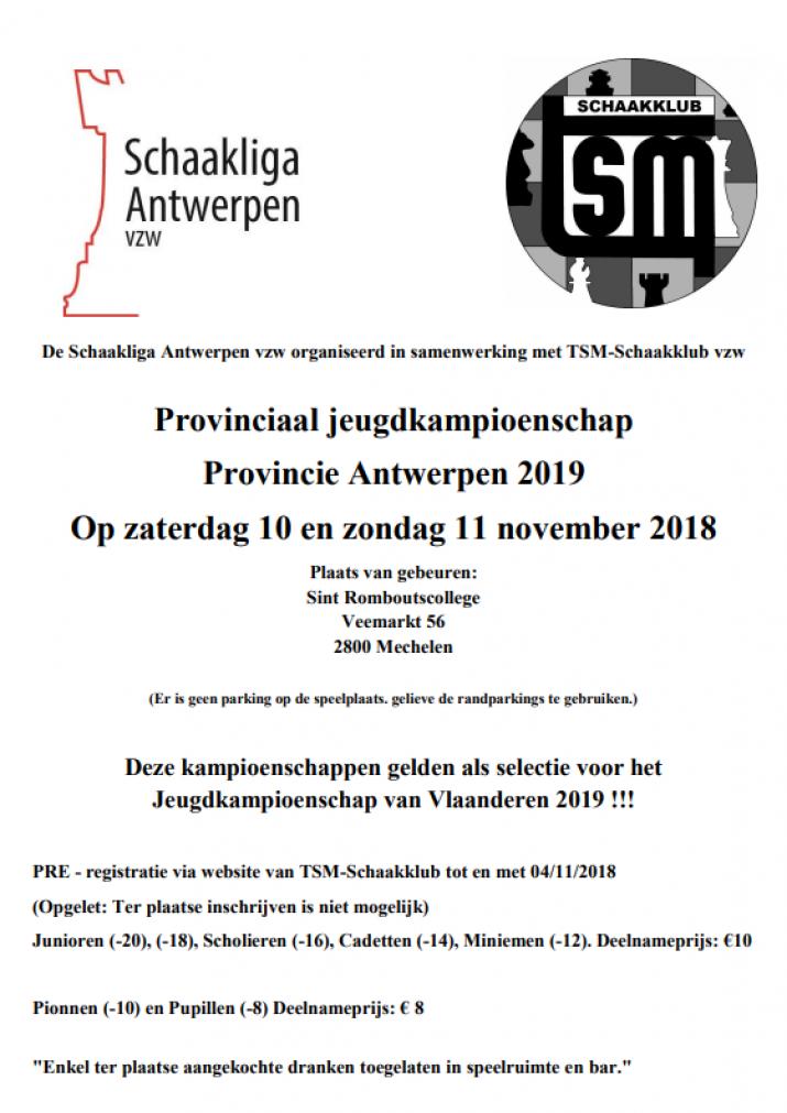 Antwerps jeugdkampioenschap 2019 10-11 november 2018