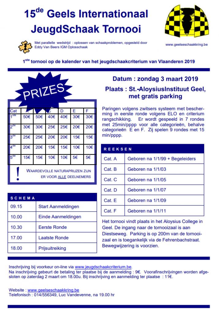 1ste jeugdschaakcriterium Vlaanderen 2019 : 15de G.I.J.S.T.