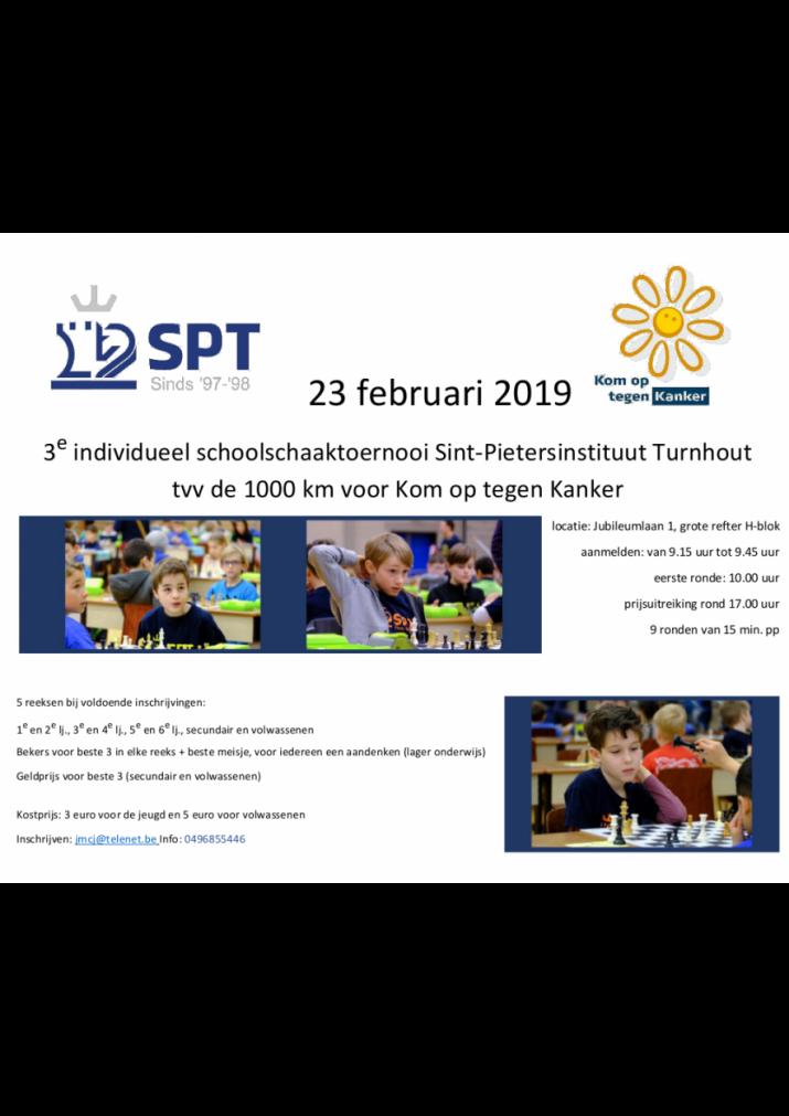 3de individueel schoolschaaktoernooi Turnhout 23 februari 2019 tvv Kom op tegen Kanker